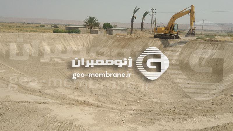 ساخت استخر ژئوممبران در فراشبند استان فارس