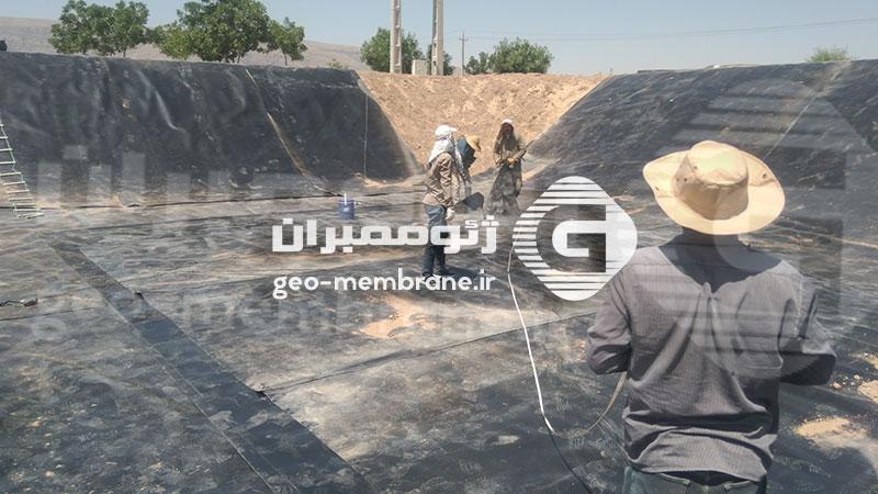ساخت استخر ژئوممبران در مرودشت روستای فاروق