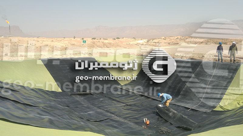 ساخت استخر پلیمری میدان نفتی سروستان