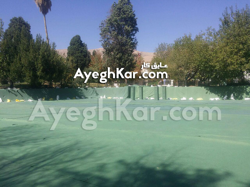 عایق ژئوممبران (ورق پلیمری) دریاچه مصنوعی پارک آزادی شیراز