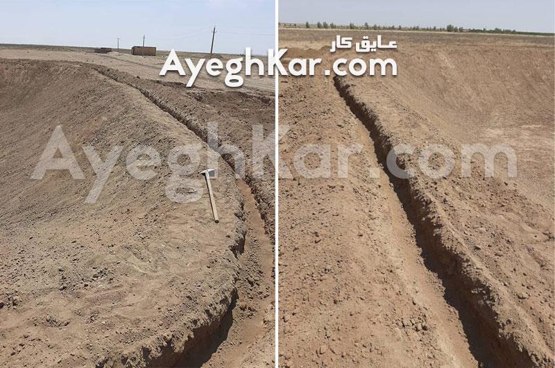گودبرداری ترانشه استخر خاکی برای مهار ورق ژئوممبران قنوات قم