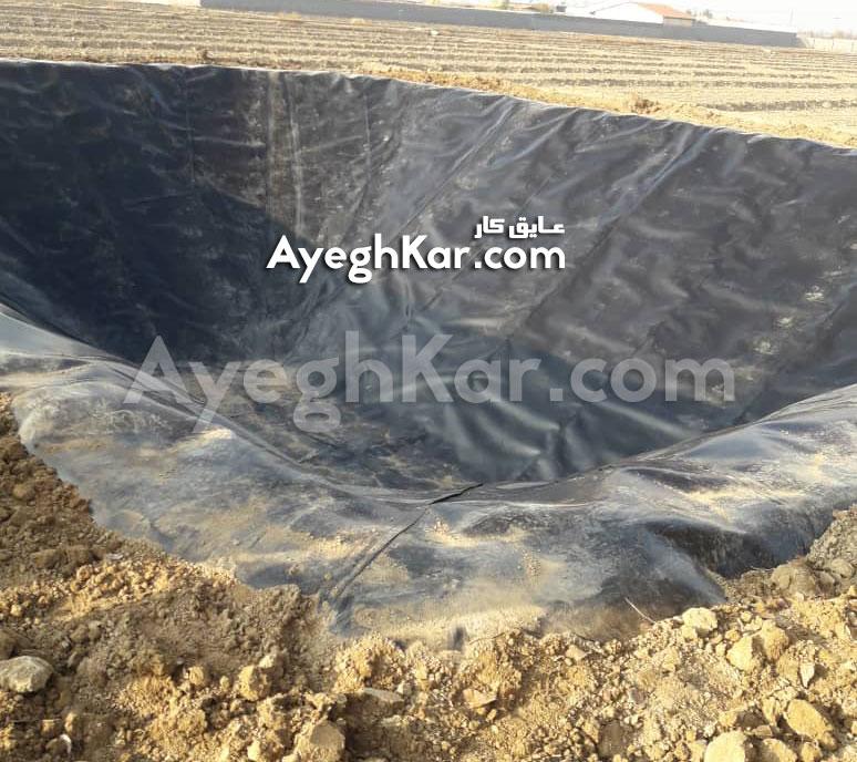 پایان کار اجرای ورق ژئوممبران استخر ذخیره آب کشاورزی کبوتر آباد
