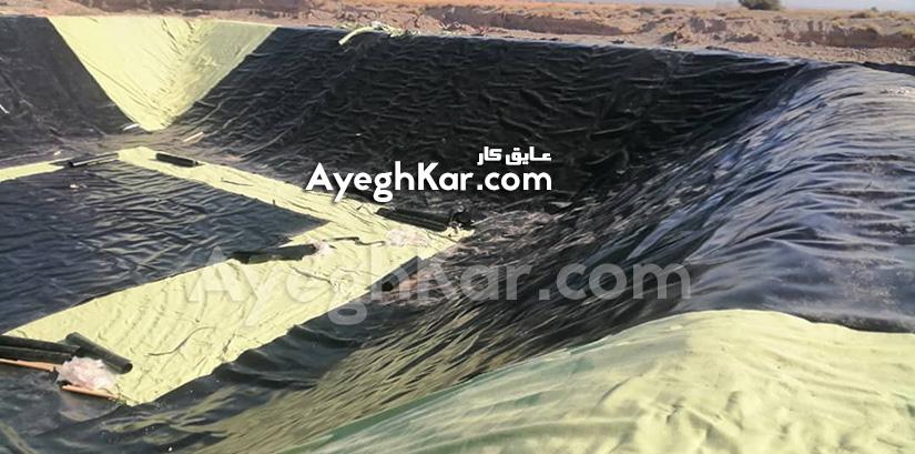 استخر ژئوممبران ذخیره آب کشاورزی حاجی آباد هرمزگان
