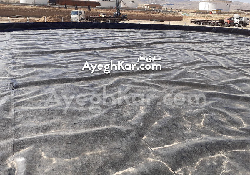 نصب ورق ژئوممبران و ژئوتکستایل پالایشگاه نفت شیراز
