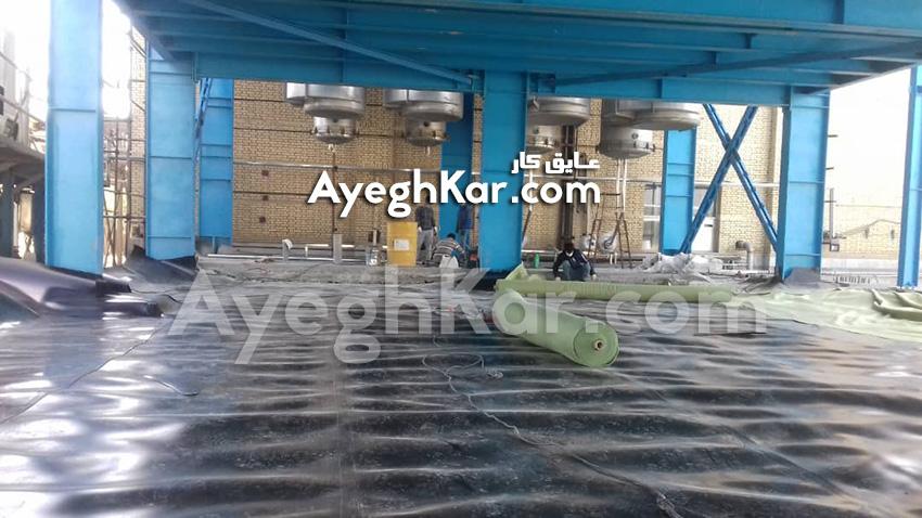 نصب ورق ژئوممبران و ژئوتکستایل سالن تولید شرکت شیر پگاه اصفهان