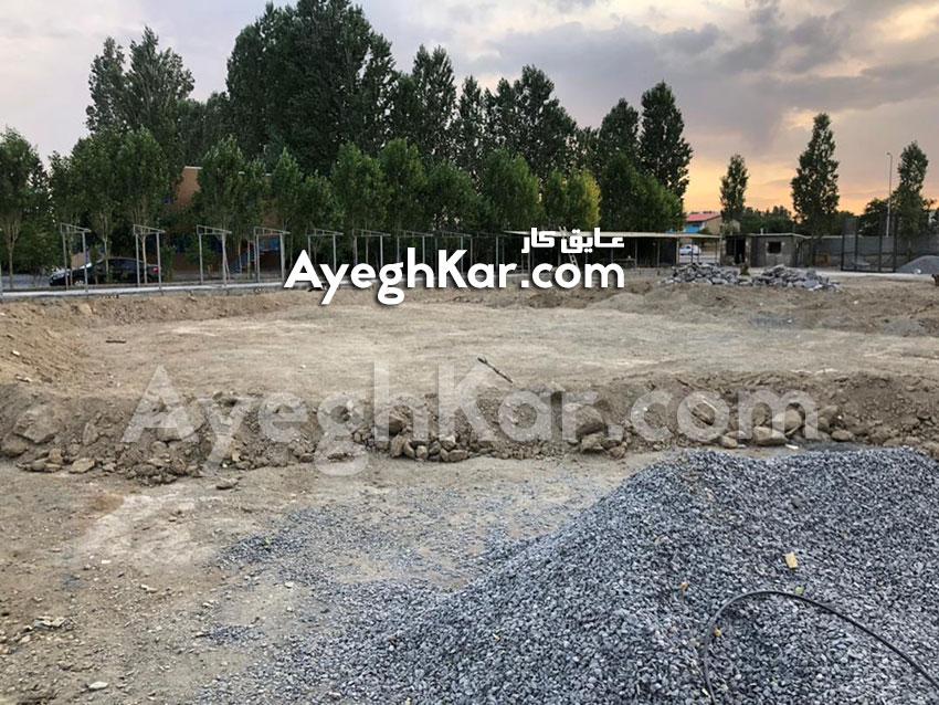 آماده سازی استخر خاکی برای ساخت برکه مصنوعی استان مرکزی شهرستان خمین