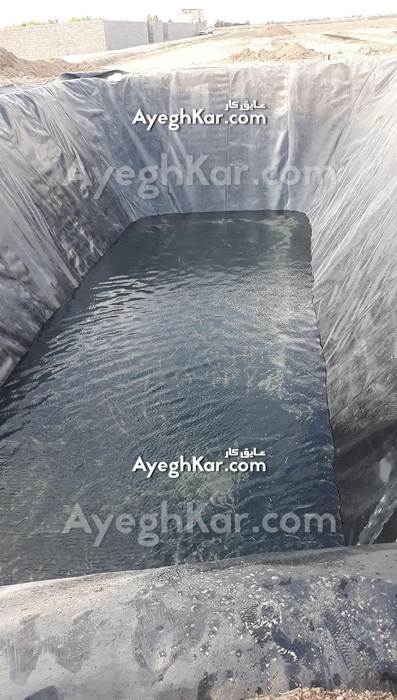 آبگیری استخر ژئوممبران ذخیره آب کشاورزی اصفهان